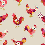 Seamless pattern with colorful roosters. Stock Images