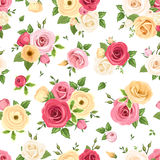 Seamless pattern with colorful roses and lisianthus flowers. Vector illustration. Royalty Free Stock Image