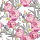 Seamless pattern with colorful roses. Romantic wallpaper. Hand painted watercolor botanical illustration. vector illustration