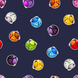 Seamless pattern with colorful round bugs. On dark background. Vector childish texture Stock Photography