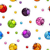 Seamless pattern with colorful round bugs. Funny vector texture Stock Photography