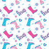 Seamless pattern with colorful rubber boots Royalty Free Stock Photo