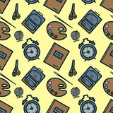 Seamless pattern with colorful school icons on yellow Flat design. Illustration Stock Images
