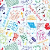 Seamless pattern colorful school supplies Royalty Free Stock Images