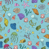 Seamless pattern with colorful sea creatures Royalty Free Stock Photography