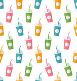 Seamless Pattern with Colorful Set of Milkshakes with Straws Royalty Free Stock Images