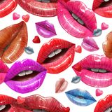 Seamless pattern made of sexy lips. Seamless pattern of colorful sexy lips. Vector lipstick or lip gloss 3d realistic design. Fashion illustration Royalty Free Stock Image
