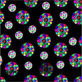 Seamless pattern of colorful shapes on a black background. Seamless pattern of colorful shapes Royalty Free Stock Images