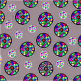 Seamless pattern of colorful shapes on gray background Stock Images