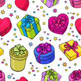 Seamless pattern of colorful sketch gifts with bows and ribbons. Seamless pattern of colorful sketch gift boxes with bows and ribbons. Xmas, birthday, Valentine Royalty Free Stock Photography