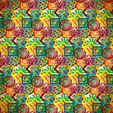 Seamless pattern of colorful small patterns in vintage style Stock Photos