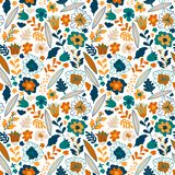 Seamless pattern with colorful small pretty flowers, leaves and floral elements