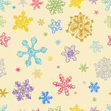 Seamless Pattern of Colorful Snowflakes Stock Photos
