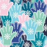 Seamless pattern with colorful snowflakes and gloves. Stock Photo
