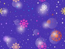Seamless pattern with colorful snowflakes. Winter abstract background. Bokeh effect. Vector. Illustration royalty free illustration