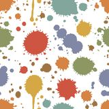 Seamless pattern of colorful stains and splashes. Of ink  paint or pigment scattered randomly on a white background in square format  vector illustration Royalty Free Stock Photos
