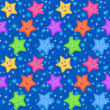 Seamless Pattern, Colorful Stars Smiley Stock Photo