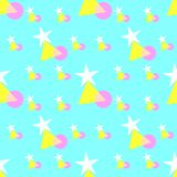 Seamless pattern of colorful stars, triangle, and circle shapes, pastel colors - white, yellow, pink, on soft blue background. vector illustration
