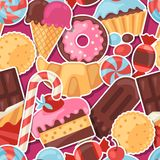 Seamless pattern colorful sticker candy, sweets Royalty Free Stock Images