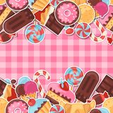 Seamless pattern colorful sticker candy, sweets Royalty Free Stock Photo