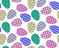 Seamless pattern of colorful striped eggs. Vector seamless pattern of easter colorful eggs with  and colorful stripes and stripes Royalty Free Stock Images