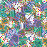 Seamless pattern of colorful striped hearts Stock Photos