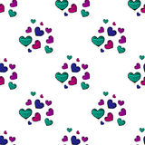 Seamless pattern with colorful striped hearts Royalty Free Stock Images