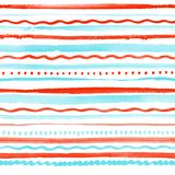 Seamless pattern with colorful stripes, dots and waves Stock Photos