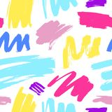 Seamless pattern of colorful strokes on white background. Vector paint brush stripes. Elements for design stock illustration