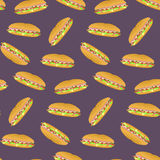 Seamless pattern with colorful sub sandwiches on violet background. Nice fast food texture for textile, wallpaper, cover, wrapping paper, banner, bar and cafe Stock Photography