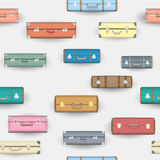 Seamless pattern with colorful suitcases. Vector background Stock Photo