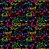 Seamless pattern with Colorful sunglasses icon isolated on black Stock Photos