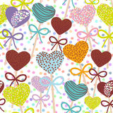 Seamless pattern Colorful Sweet Cake pops hearts set with bow isolated  Stock Images