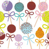Seamless pattern Colorful Sweet Cake pops set with bow isolated on white background. Vector Royalty Free Stock Photography