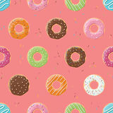 Seamless pattern with colorful tasty glossy donuts Royalty Free Stock Photos
