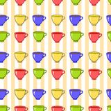 Seamless pattern with colorful tea mugs Stock Photography