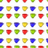 Seamless pattern with colorful tea mugs Royalty Free Stock Photo