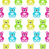Seamless pattern with colorful teddy bears Stock Images