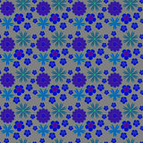Seamless pattern. Colorful texture with simple blue flowers Stock Images