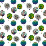 Seamless pattern with colorful trees Royalty Free Stock Photography