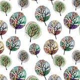 Seamless pattern with colorful trees Royalty Free Stock Image