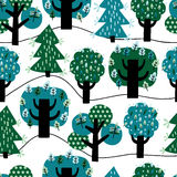 Seamless pattern with colorful trees. For textiles, interior design, for book design, website background Royalty Free Stock Image