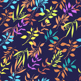 Seamless pattern with colorful twigs silhouette. Stock Image