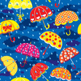 Seamless pattern with colorful umbrellas, clouds a. Nd rain drops on blue sky background stock illustration