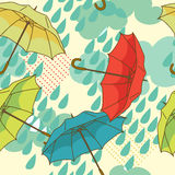 Seamless pattern with colorful umbrellas and clouds. Vector illustration Royalty Free Stock Photography
