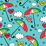 Seamless pattern with colorful umbrellas Royalty Free Stock Images