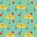 Seamless pattern with colorful umbrellas and origami cranes in asian style Stock Photo