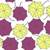 Seamless pattern with colorful umbrellas. View from above. Vector illustration Royalty Free Stock Photo