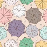 Seamless pattern with colorful umbrellas. View from above. Vector illustration.  Royalty Free Stock Photography