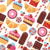 Seamless pattern colorful various candy, sweets Stock Photography